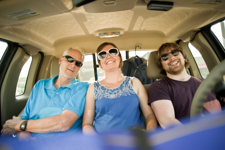 Prof. Davis, Kelly West, and AJ Chavar on their cross-country road trip to Wa.