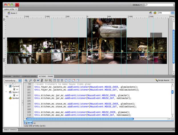 Screenshot of Flash CS4 on David's iMac