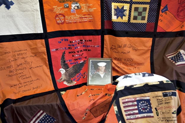 Photograph of quilts made by wives and widows of Vietnam veterans